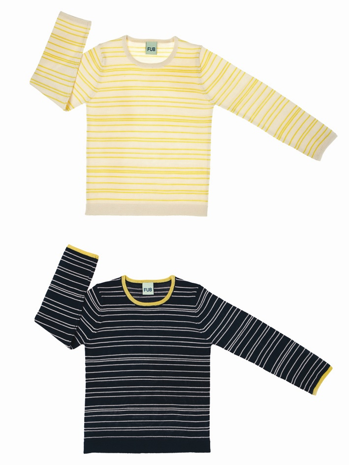 0111 A-W striped blouse ecru-yellow-vert
