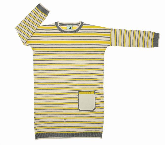 0811 A-W oversize dress ecry-yellow-grey m