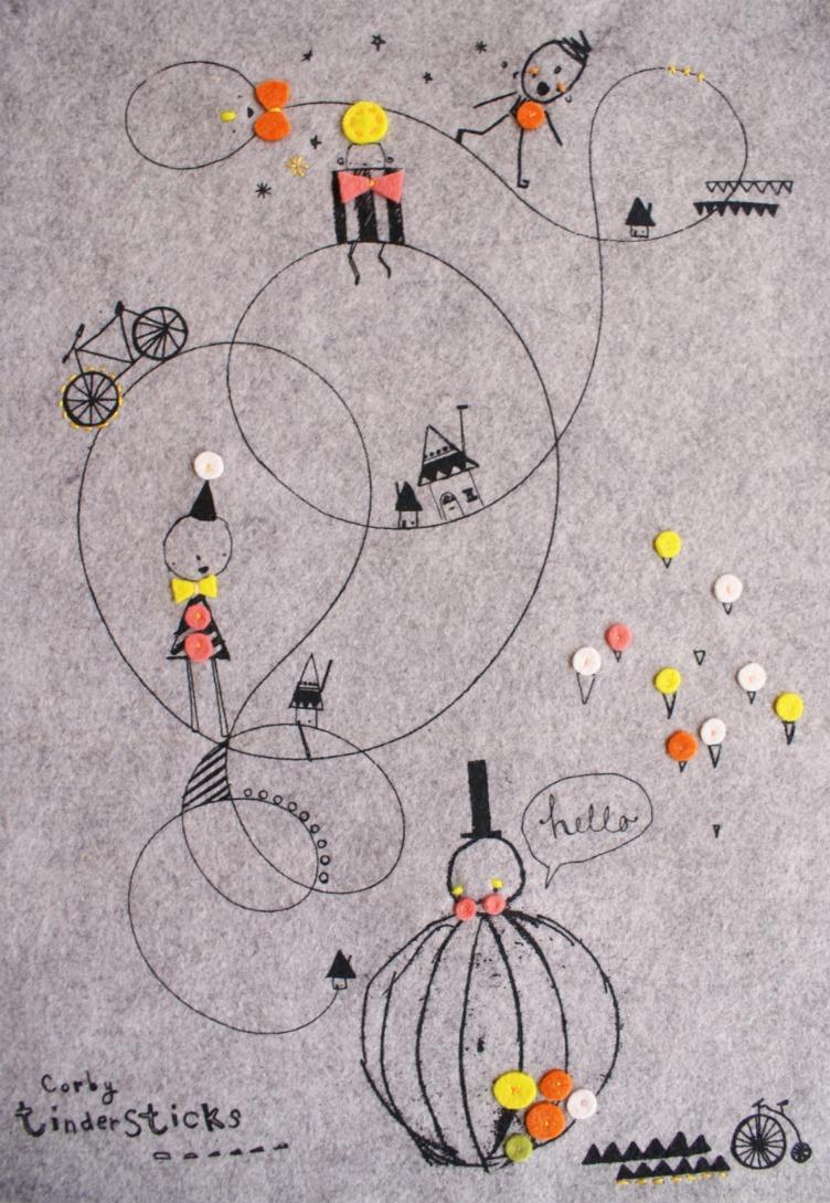 Grey marl 'balloon' print